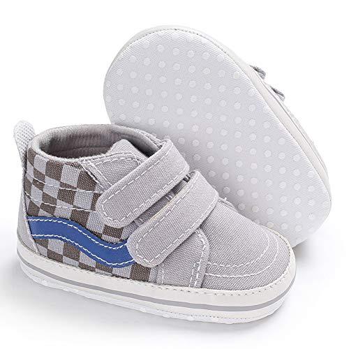 Babycute Baby Jungen Mädchen Weiche Sohle Anti-Rutsch Segeltuch Sneaker Knöchelschuhe Erste Wanderschuhe Casual Sport, Grau - Crown-Grey - Größe: 0-6 Monate (Mädchen Größe 1 Cowboy Stiefel)