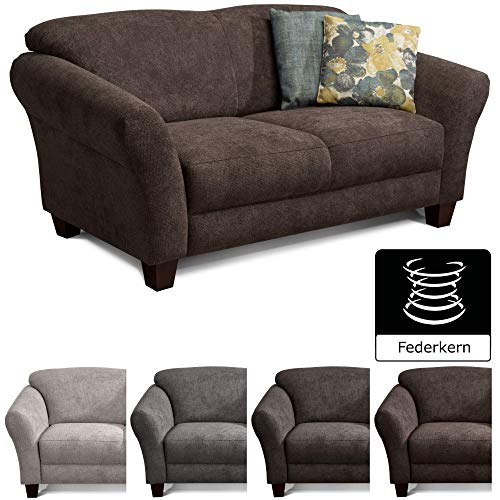 CAVADORE 2-Sitzer Gootlaand / Großes Sofa im Landhausstil / Mit Federkern / 163 x 89 x 84 / Dunkelbraun