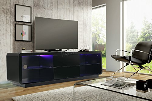 Foxhunter Modern High Gloss Matt Tv Cabinet Unit Stand Black Rgb Led Light Home Furniture Tvc10 160cm