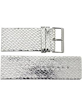 Moog Paris Silber Kalbsleder Uhrenarmband, Schlangenhautmuster, Dornschließe, 34mm Ersatzband _ B34009