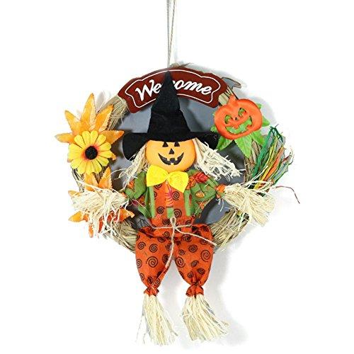 Halloween Deko Lachende und mit Beinen ausschlagende Hexe+Kürbis Vogelscheuche Kranz für Gruselige Halloween-Deko von Anna-neek