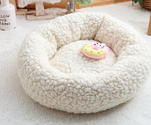 ZHJZ Katzenbett Sweet Candy Farbe Rund Nest Kennel Pet Nest Cremig-Weiß