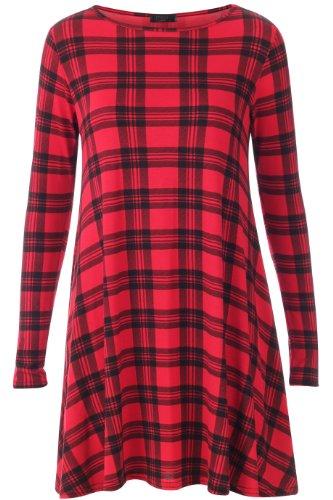 Fast Fashion - Robes Vérifier Tartan Impression élégantes Meilleurs- Femme Robe De Balançoire Rouge / Noir