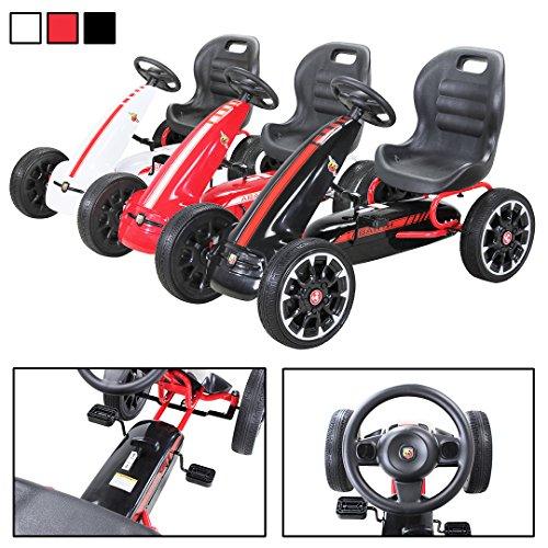 vidaXL Pedal Go-Kart mit Luftreifen Rot Kinder Rennwagen Sportwagen Tretauto