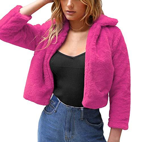 LEEDY Damen Hot Pink Kurz Plüschjacke Revers Wintermantel Winterjacke Plüsch Offene Cardigan Jacke Daunenmantel Outwear Mantel S/M/L/XL/XXL/XXXL