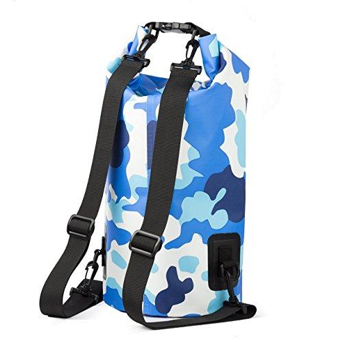 7 COLOR WINGS Wasserdichte Tasche 15L Camouflage Trockene Tasche für Wassersport Ideal Kajak und Boot (Blau)