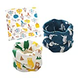 DEBAIJIA Baby Scarves Kids Infant Neckerchief Boys Girls Cotton Multi-use Collar Warmer Cute Windproof Soft Printing Pattern Knitting Scarf Hat Bandana Drool Bibs 3Pcs for 0-8 Years