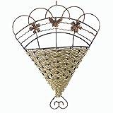 Tejido de vid Mural colgante de pared planta de flores artificiales cesta arreglo de flores decoración del hogar de bronce