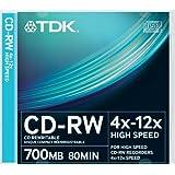 TDK CD-RW700HSCA10P-L - Pack de 10 CDs regrabables (700 MB, velocidad máxima de 12x)
