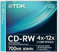 TDK T18792 CDRW High Speed 12 x 10 Pack Slim Jewel Case