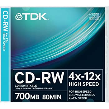 TDK T18792 CDRW High Speed 12x 10 Pack Slim Jewel Case