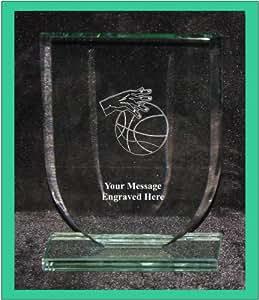 Basket-ball en verre 13,5cm Bouclier Forme Award Trophy gs1008Gravure personnalisée
