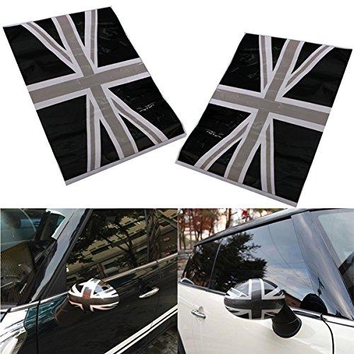 Alamor 2St Black Union Jack Flag Vinyl Mirrors Aufkleber Für Mini Cooper (Black Union)