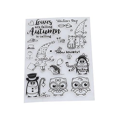 HENGSONG Transparent Silikon Stempel Set Niedlich Eule Clear Stamps DIY Album Craft Scrapbooking Dekoration