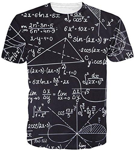 uideazone Uidsazone Männer Wissenschaft T-Shirts Zahlen Bildungs-Kurzarm T-Shirt Tops