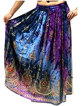 Colorido de las señoras de la India Boho Hippie gitano largo de lentejuelas de la falda del verano del rayón de...