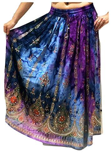 Bunte Womans Damen Indianer Boho Hippie Zigeuner Sequin Sommer Sommerkleid Maxi Bauchtanz Rock (Kostüme Uk Tribal Dance)