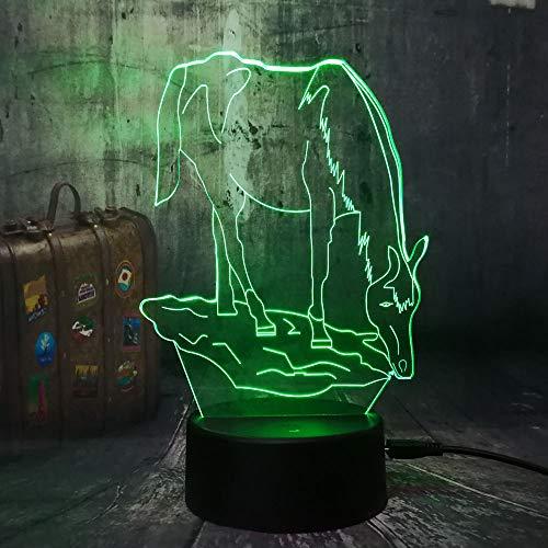 WangZJ 3d Illusion Lampe / 7 Farbwechsel Nachtlichter / 3d Illusion Lampe/Schlafzimmer Acryl Led Kunst/Kinder Spielzeug/Tier Pferd -