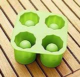 Eis Shotglas - Formen Silikon - Schnapsglas aus Eis - Stamperl - Gläser - Schnapsstamperl - Eisstamperl - Eisgläser - Eisglas - Eiswürfelbereiter - Eisformer - Schnapsglas - 12,5 x 12,5 x 6,5 cm - Ø 5,5 cm - grün