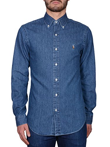 Ralph Lauren Herren Langarmshirt blau Denim Small Denim