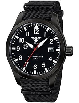 KHS Herrenuhr Airleader Black Steel Natoband Schwarz KHS.AIRBS.NB