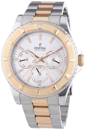 Festina Unisex Quartz Watch with Silver Dial Analogue Display and Two Tone Stainless Steel Bracelet F16692/1