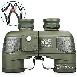 NOCOEX 10X50 Jumelles Marines Militaires Anti-Buée Etanches Avec Télémètre Interne et Boussole pour la Navigation, la Navigation de Plaisance, Observation des Oiseaux, la Chasse avec Sangle de Harnais