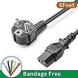 Noir Câble d'alimentation,EU 6FT Noir Power Cord Cordon Électrique Secteur pour PC...