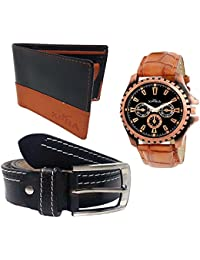 XPRA Analog Watch, Black PU Leather Belt & Black Leather Wallet For Men/Boys Combo (Pack Of 3) - (WL-3CMB-32)