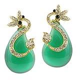 Kriaa Gold Plated Drop Earrings for Women (Green ) (1305726)