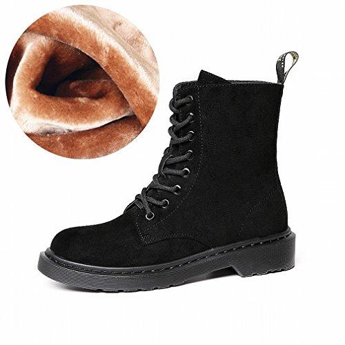 ZH Sgualcito con Stivali Tondi in Pizzo Ispessimento Caldo Stivali da Neve in Cashmere Scarpe da Vento Occidentali B