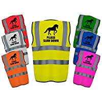 Please Slow Down Hi Vis Vest Reflective Safety High Viz Equine Safe Waistcoat safer for Horse and Rider Equestrian