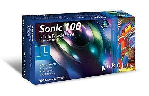 Sonic 100 9377B8 Gants d'examen en nitrile sans poudre, Large, Bleu (lot de 100)