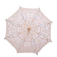 YUSHANS Beige Umbrella Girls Craft Lace Handmade Umbrella Embroidery Silk Decoration Umbrella