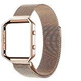 Bandas metálicas Correa Fitbit Blaze compatible pequeña, Carcasa del marco + Banda accesoria de acero inoxidable Milanese Loop para Fitbit Blaze Reloj inteligente Rastreador de fitness,Color Rosa Oro