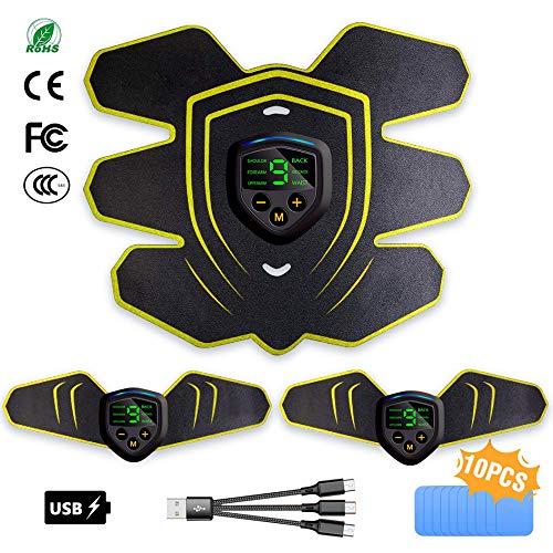 EGEYI EMS Electroestimulador Muscular Abdominales Estimulador Muscular Masajeador Eléctrico Cinturón EMS Estimulador Abdomen/Brazo/Piernas/Cintura Entrenador Muscular, USB Recargable (Hombre/Mujer)