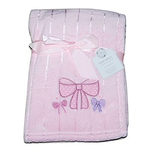 Baby-Girl-Soft-Fleece-Wrap-Blanket-Pram-Cot-Crib-Moses-Basket-Pink-Bow