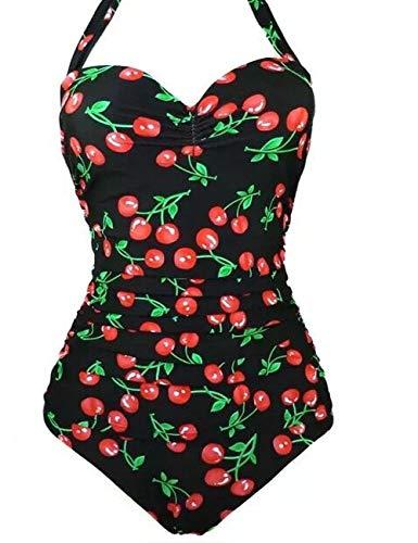 Bikini Natacion Traje de Ba?o Una Pieza Ba?Ador Mujer Alta Cintura Push Up con Aro ¡ Flor#1, M