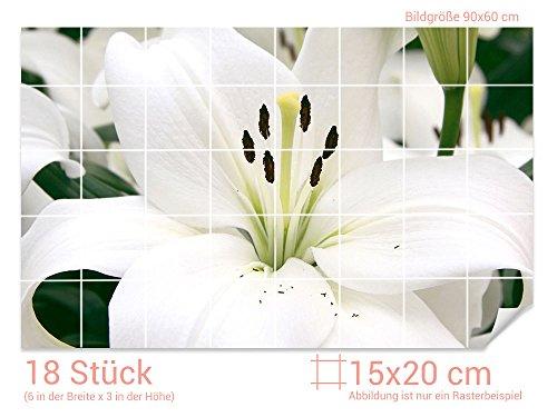 Graz Design 761390_15x20_60 Fliesenaufkleber Weiße Lilie für Kacheln   Bad-Fliesen mit Fliesenbildern überkleben (Fliesenmaß: 15x20cm (BxH)//Bild: 90x60cm (BxH))