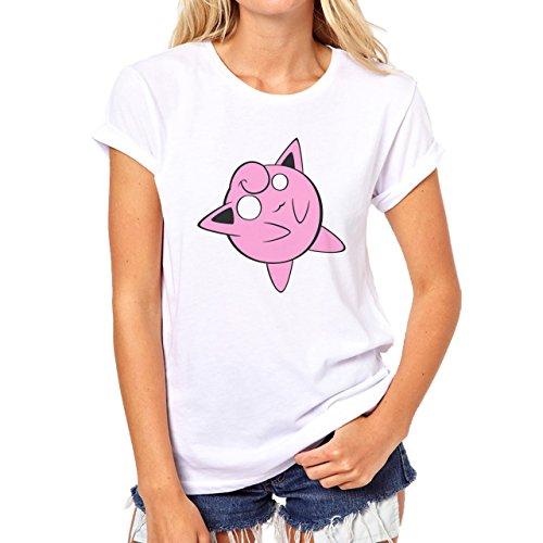 Pokemon Jigglypuff Wigglytuff Normal Pink Damen T-Shirt Weiß