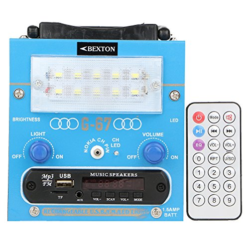Bexton Rechargeable Multimedia G067 LED with USB/AUX/TF and Remote FM Radio (Blue)