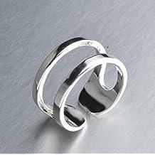 Omeny 1 PC Anillo de pulsera de doble línea único de las mujeres plateadas de plata