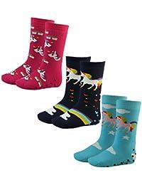 3er Pack Kinder Socken Mädchen Socken Motiv Einhorn rutschfest mit ABS