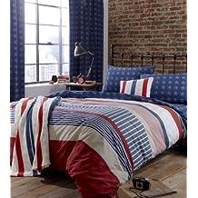 Set edredón, colcha, funda doble barras y estrellas americanas en rojo, blanco y azul de algodón