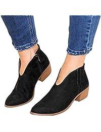 f76f7275c00 Botines Mujer Tacon Ancho Ante Cuero Tobillo Botas Piel Ankle Boots 4 Cm  Cremallera Moda Comodos