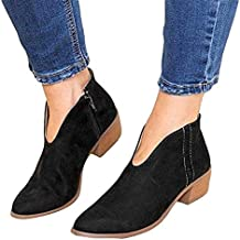b762b6b7e Botines Mujer Tacon Ancho Ante Cuero Tobillo Botas Piel Ankle Boots 4 Cm  Cremallera Moda Comodos