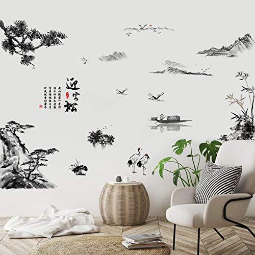 ufengke Pegatinas de Pared Pintura En Tinta Paisaje Vinilos Adhesivos Pared Árbol Montaña Decorativos para Habitación Dormitorio Sala de Estar Oficina