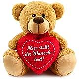 matches21 Teddybär mit Herz / Herzteddy ** individuell mit Wunschtext bedruckbar ** 40 cm Hellbraun - DIE Geschenkidee!