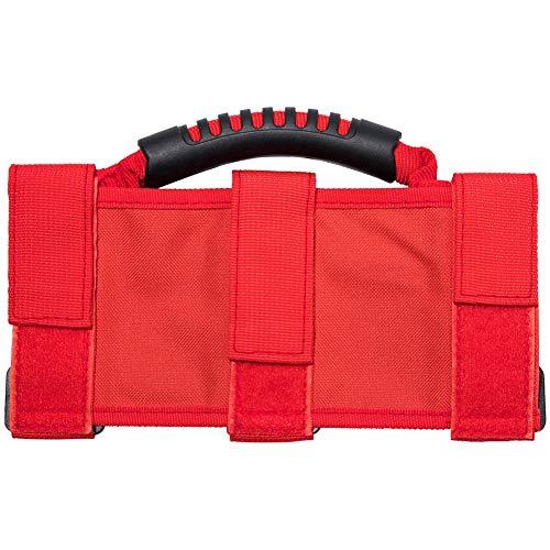 Chanhan 4 x Rollstangen-Griffe, ABS- + Nylon-Gurtband, verstellbare Gurte, Schwarz, Rot