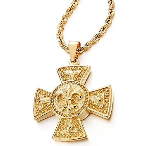 COOLSTEELANDBEYOND Gold Farbe Fleur de Lis Keltisches Kreuz Anhänger Edelstahlkette für Herren mit 75cm Stahl Seilkette